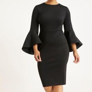 Eloquii black flare sleeve scuba dress sz 18